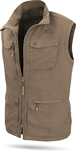 normani Herren Outdoor Weste mit atmungsaktivem Sonnenschutzmaterial 50+ [XS-5XL] Farbe Khaki Größe 3XL