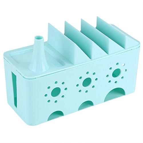 Cable Management Box Organizer 3 Farben Mehrzweck Ladekabel Draht Power Strips Überspannungsschutz Cord ausgehöhlt Gravur Storage Organizing Box Plug Board Container(Blau)