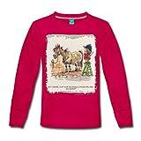 Spreadshirt Thelwell Pferd Beim Friseur Kinder Langarmshirt, 134/140 (8 Jahre), Dunkles Pink