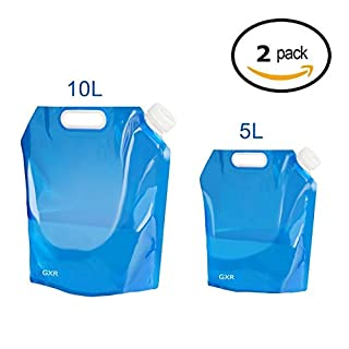 Ariel-gxr Folding Water Container, 5L+10L Outdoor Folding Water Bag Car Water Carrier Container for Sport Camping Hiking Picnic BBQ Water Resistant Gift