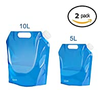 ariel-gxr Folding Water Container, 5L+10L Outdoor Folding Water Bag Car Water Carrier Container for Sport Camping Hiking…