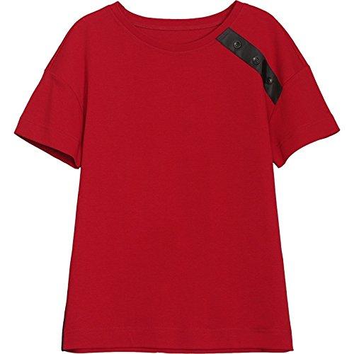 MoMo T-shirt à manches courtes T-shirt à manches longues en coton à manches courtes,rouge,XXXL