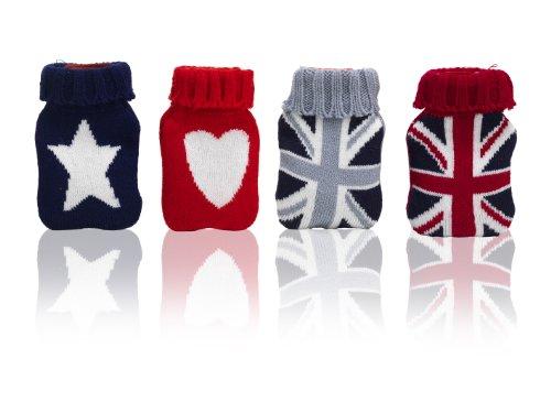 MONTEMAGGI 4 Scaldamani riutilizzabili a forma di boule borsa dell'acqua calda colorata ricoperta da una maglia in lana decorata con cuori stelle e la bandiera inglese