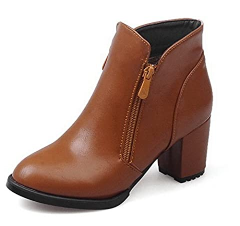 VogueZone009 Women's Low-Top Zipper Soft Material Kitten-Heels Pointed Closed Toe Boots, Brown, 32