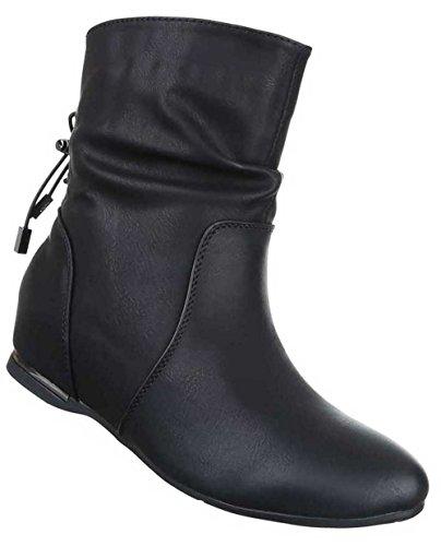 Damen Stiefeletten Schuhe Keil Wedges Boots Used Optik Schwarz Schwarz