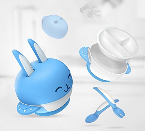 Ralia Baby Feeding Suction Bowl. It Includes 6 sets (1 pcs Bowl cover +1 pcs bowl body +1 pcs fork + 1 pcs spoon+1 pcs Dividing plate + 1 pcs Spoon, fork holder ). Antibacterial Cute Rabbit Suction Bowl, It Is FDA approve And BPA Free. 4162sO1MECL