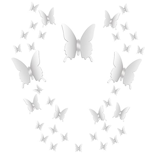 el Schmetterling Kombination 3D Spiegel Wandaufkleber Wanddeko Wandsticker Haus Dekoration ()
