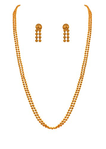 JFL - Traditional Ethnic One Gram Gold Plated Bead Designer Necklace Set with Earring for Women and Girls.  available at amazon for Rs.475