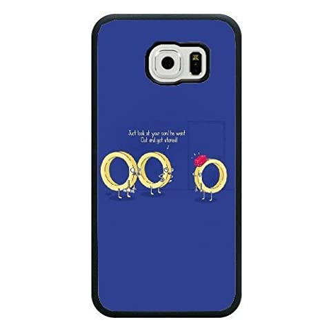 Samsung Galaxy S7 Edge Case,Cartoon golden ring pattern blue Fashion Trend Durable Hard Plastic Scratch-Proof Protective Case,Black