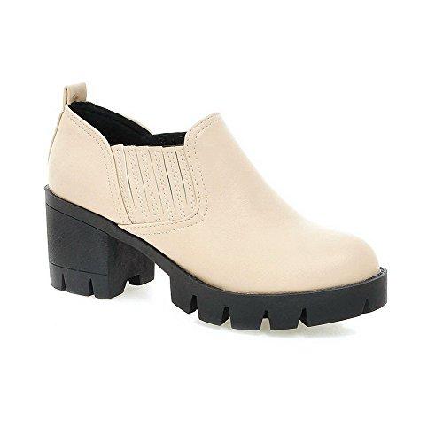 AgooLar Damen Rein Weiches Material Mittler Absatz Ziehen Auf Rund Zehe Pumps Schuhe Cremefarben