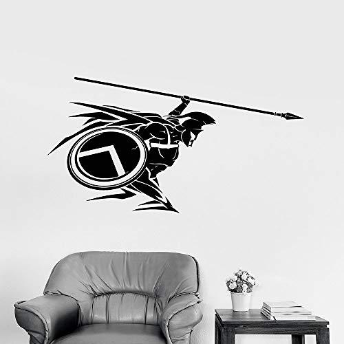 Spartanischer Krieger Mit Speer Helm Vinyl Wandaufkleber Steuern Dekor Aufkleber Kunstwand Geschenk Abnehmbare 43 * 54 cm (Kinder Ravens Helm)