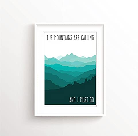 The mountains are calling John Muir Poster, Mountains Wall Art Adventure Quote, Mountain Wall Decor