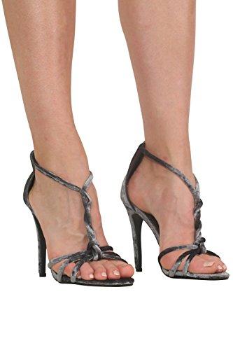 PILOT® velours bracelet en torsion moulantes sandales à talons hauts Gris