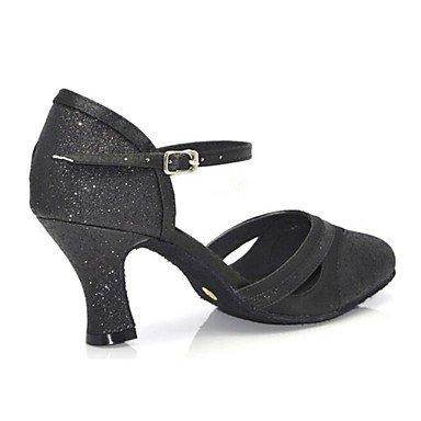 XIAMUO Anpassbare Damen Tanz Schuhe moderne Satin/Paillette angepasste Ferse Schwarz/Gold/Fuchsia Schwarz