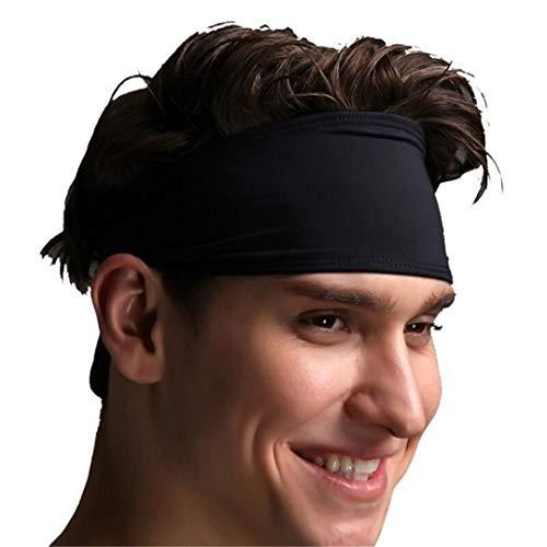 Unisex Herren Frauen Solid Sport Yoga Stirnband Schweißabsorbierend Stirnband Mamum Haar Stirnband Stirnband Stirnband Stretch Herren Wrap Elastisch Sport Männer Dünn Gym Einheitsgröße Schwarz