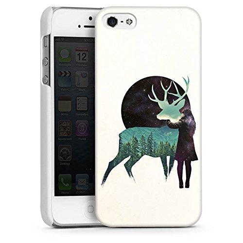 Apple iPhone SE Housse Outdoor Étui militaire Coque Cerf Fille Lune CasDur blanc