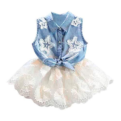 Kleinkind Baby Mädchen Polka Dot Fly Sleeve Top + Strap Rock Kleid + Bowknot Stirnband Sommer Kleidung Set (Baby Mädchen Polka Dot Stirnband)