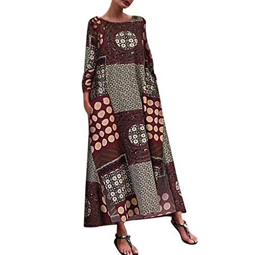 FRAUIT Sommerkleid Damen 3/4 Ärmel Lange Maxikleid Baumwolle Leinen Bohe Print Kleid Floral Kaftan Lose Kleid Super Qualität Atmungsaktiv Weich Bequem Kleidung -