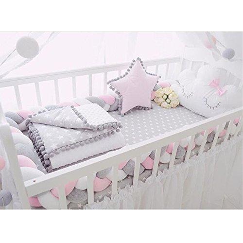 Baby Kinderbett Stoßstangen lang geflochten Knoten Kissen, Kinderzimmer Bettwäsche Kinderbett Sicherheit Zaun Buggy Stoßstangen Zimmer Decor
