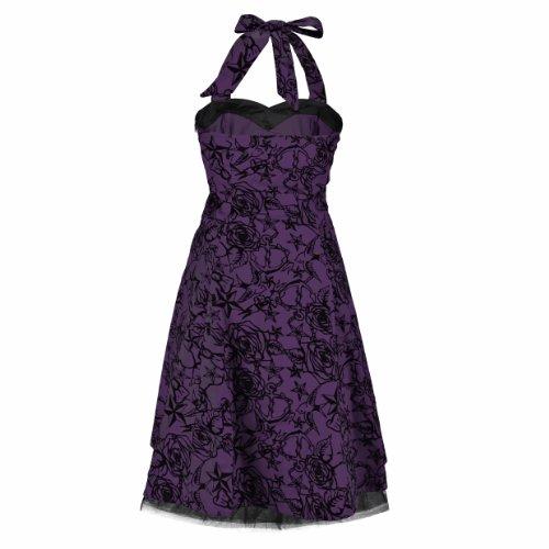H&R London Kleid TATTOO 50'S DRESS purple-black Purple-Black