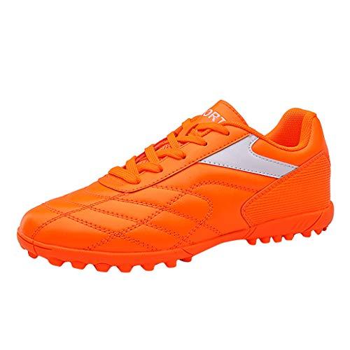 Paar Fußballschuhe mit Kurze Nägel Damen Herren Sportschuhe Fußball Schuh Laufschuhe Studenten Short Nagel Sneaker Training Fitnessschuhe Sneakers, Orange