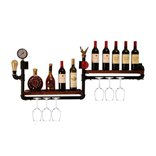 (AnnJPJ Wand-Weinregal, Retro Industriewasserrohr Hängen Speicher Hängen Hängen, Wohnzimmer Esszimmer Bar Rack, 10 Flaschen Wein 10 Tassen, 120 * 50 * 20 cm)