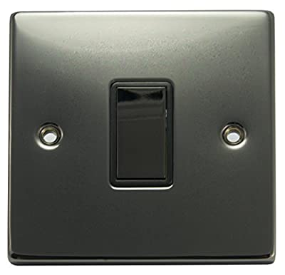 Single light Switch1 Gang 2 Way Black Nickel Wall Switch produced by Long Life Lamp Company - quick delivery from UK.