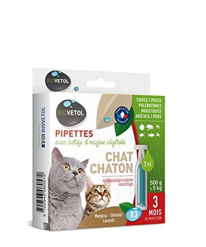 Biovetol - Pipettes Anti-Puce pour Chaton et Chat (500g...