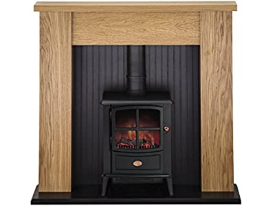 Adam New England Stove Suite in Oak with Brayford Electric Stove in Black, 48 Inch