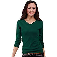 Aswinfon Pull Femme Laine Maille Col V Casual Manches Longues Hiver Chaud  Pullover Sweater Top Blouse ca9d325b2c14