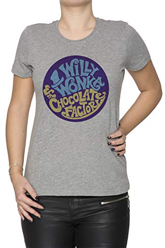 Erido Willy Wonka and The Chocolate Factory - Gene Wilder Damen T-Shirt Rundhals Grau Kurzarm Größe L Women's Grey T-Shirt Large Size ()