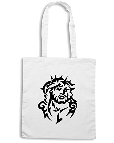 T-Shirtshock - Borsa Shopping FUN0385 738 jesus in thorns decal 11036 Bianco