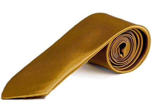 Premium Krawatte mit Gratis Einstecktuch - Slim Tie Business Hochzeit Party Anzug Schlips (Gold)