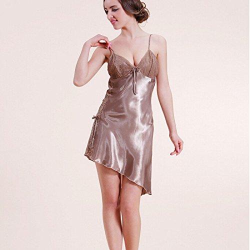 LeBen Charming pyjamas femmes Nuisette Sexy Mini robe chemise de nuit Pajams Marron - Camel