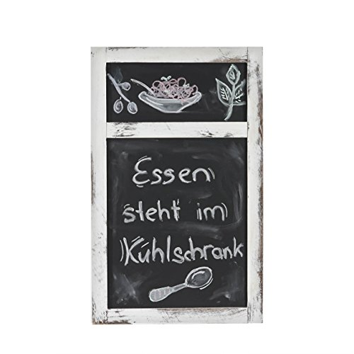 Werbetafel, Wandtafel Kreidetafel, 55x34x2cm Shabby-Look Vintage ~ weiß