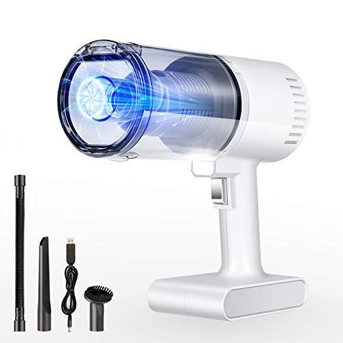 AREWTEC Aspirador de Mano Sin Cable, Aspiradora de Coche 5000Pa, Luz LED Aspirador Inalámbrico Húmedo/Seco...
