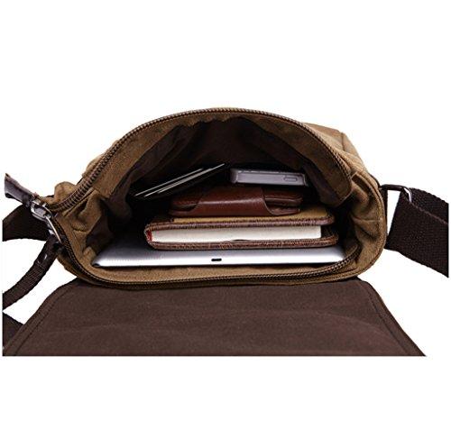 Super Modern Leinwand Messenger Bag Umhängetasche Cross-Body Tasche Cool Stil Schultertasche feinen iPad-Tasche Tasche Schule Tasche für Damen und Herren coffee