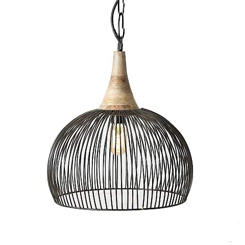 Collection Schwarz Gitter (Lampe Hängeleuchte Deckenlampe Gitter Design D36 H45cm schwarz Eisen max. 25Watt, 1xE27)
