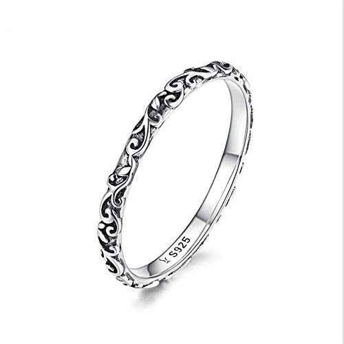 ChenHui Retro-Muster S925 Ring aus Sterling Silber Mode-Ring Pattem