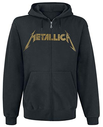 Metallica Hetfield Iron Cross Guitar Capucha con Cremallera Negro L