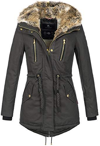 Navahoo warme Damen Winter Jacke lang Teddyfell Winterjacke Parka Mantel B648 (Gr. XS/Gr. 34, Anthrazit)