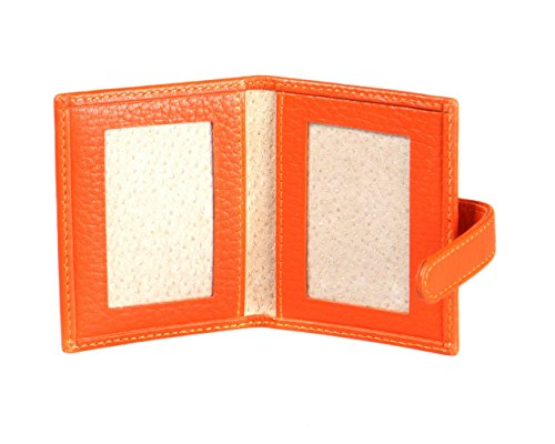 SAGEBROWN Orange Bi-Fold Mini Double Photo Frame (Orange Wallets Travel)