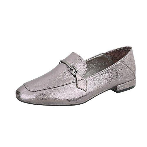 Slipper Damen-Schuhe Slipper Blockabsatz Moderne Ital-Design Halbschuhe Silber Grau, Gr 38, 266-3-