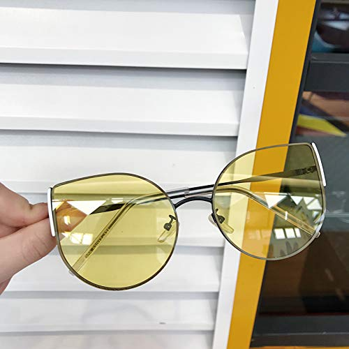 CFLFDC Sonnenbrillen Katzenauge Sonnenbrille Dame Polarisierte Sonnenbrille Sternbrille 100% Uv-schutz Transparentes Gelb