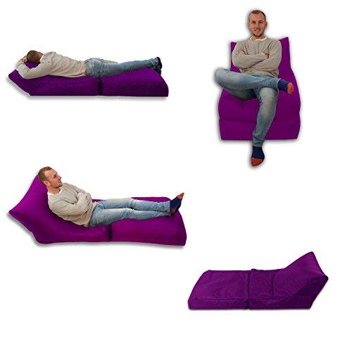 Puf cama y silla, color morado para uso en exterior e interior, tamaño extragrande, asiento extragrande para videojuegos, resistente a la intemperie (resistente al agua).