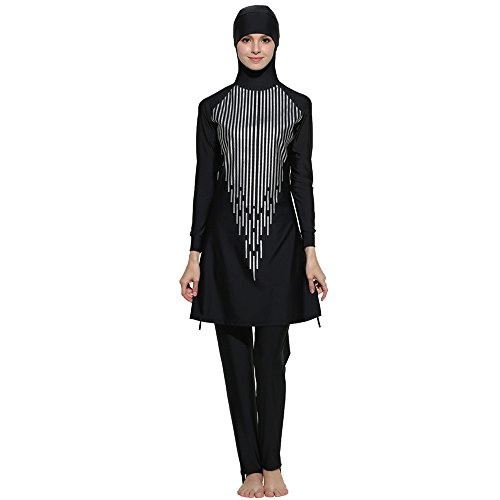 Muslimischen Frauen Langarm Drucken Badeanzug mit Kapuze 2-Teilige Burkini Full Cover Modest Bademode Islamischen 2018 Mode Tankini Bescheidene Badebekleidung (3XL) -