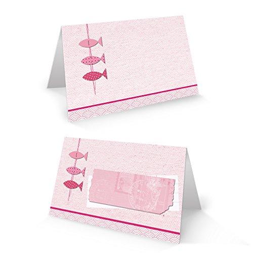 25 Stück 3 kleine rosa pink rose rot farbene Fische Tischkarten Namensschilder Platzkarten zur Taufe Kommunion Geburtstag Mädchen Namenskärtchen - mit JEDEM Stift beschreibbar!