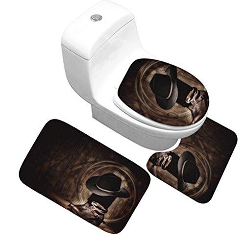 CHEZMAX Set mit Rutschfester Fußabtreter mit Wasser saugfähig und Anti-Schimmel Flanell Deko-Teppich WC-Teppich für Badezimmer, Westen, Cowboy mit Stollen