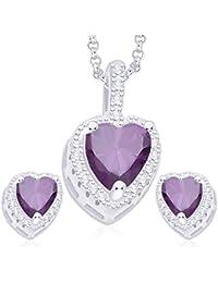 Taraash 925 Sterling Silver Purple & White CZ Heart Shaped Pendant Set PE1251D