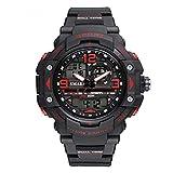 Daesar Reloj Adolescente Reloj Hombre Luminoso Reloj Impermeable Reloj Deportivo Relojes Electronicos Reloj Hombre Moda Reloj de Doble Pantalla Rojo